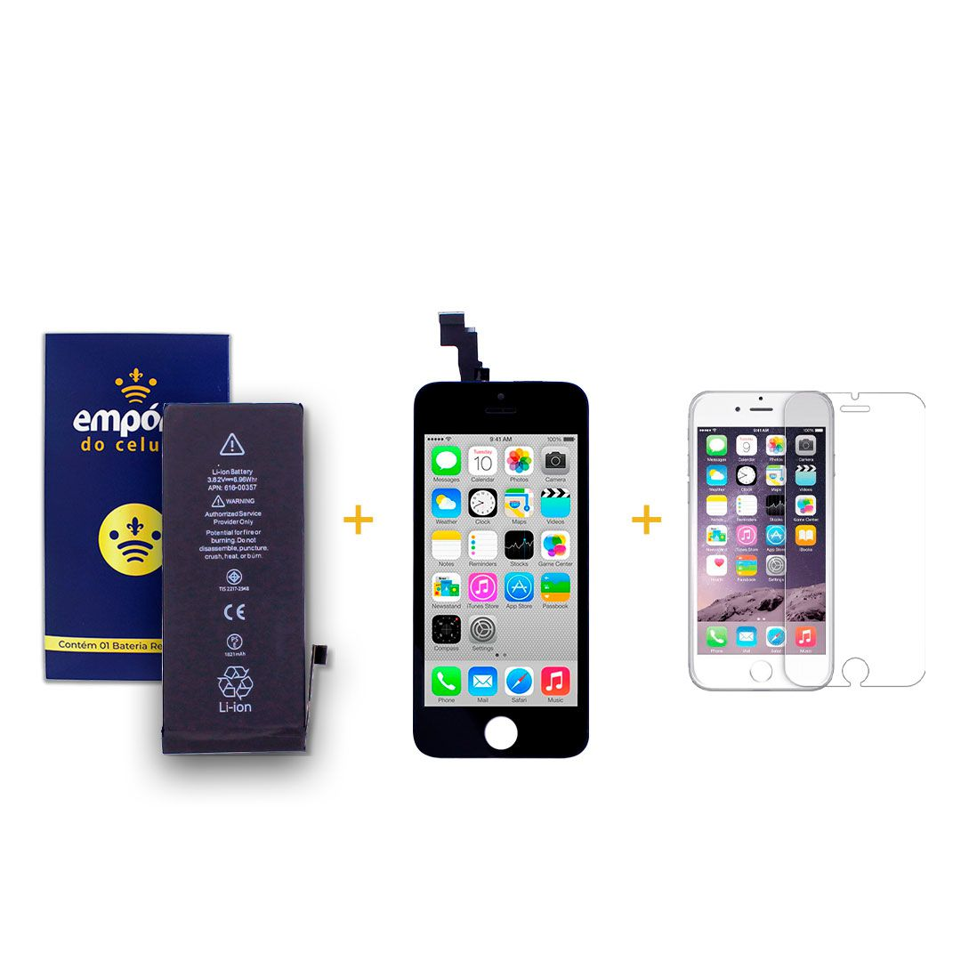 Kit Tela Display iPhone 5C Premium + Bateria + Película