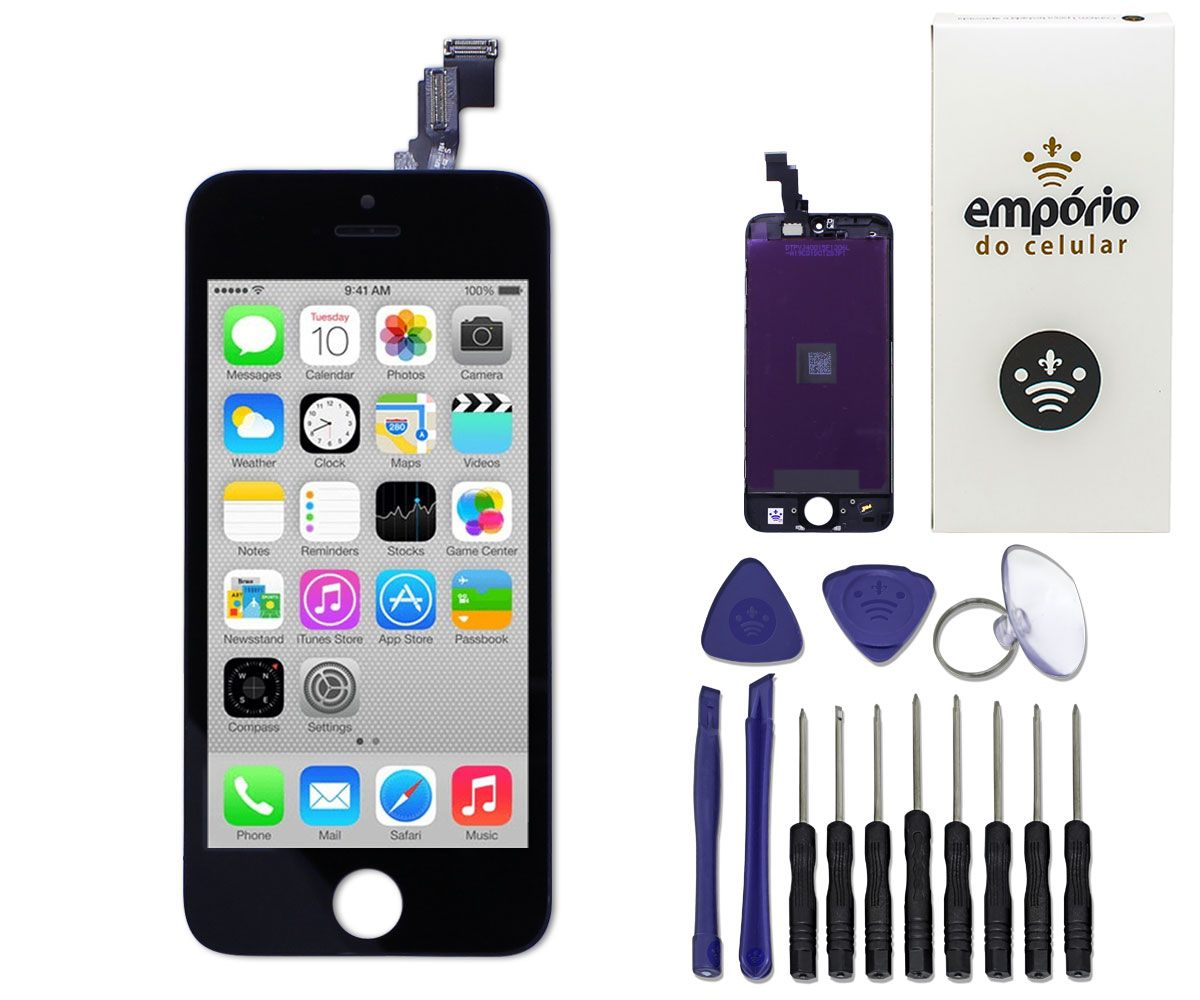 Kit Tela Display iPhone 5C Standard + Bateria + Película