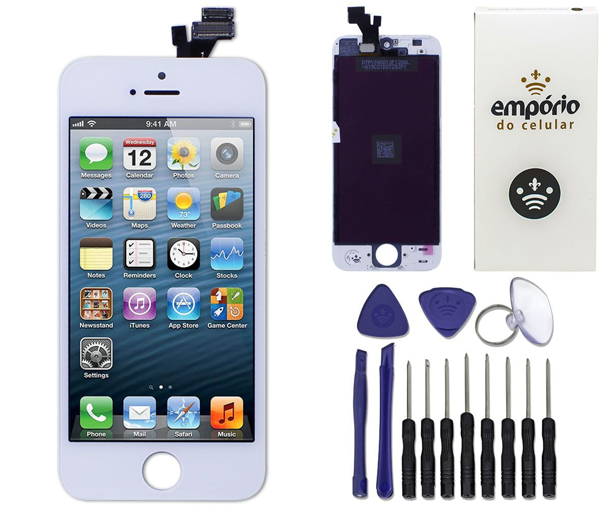Kit Tela Display iPhone 5 Standard Branco + Bateria + Película