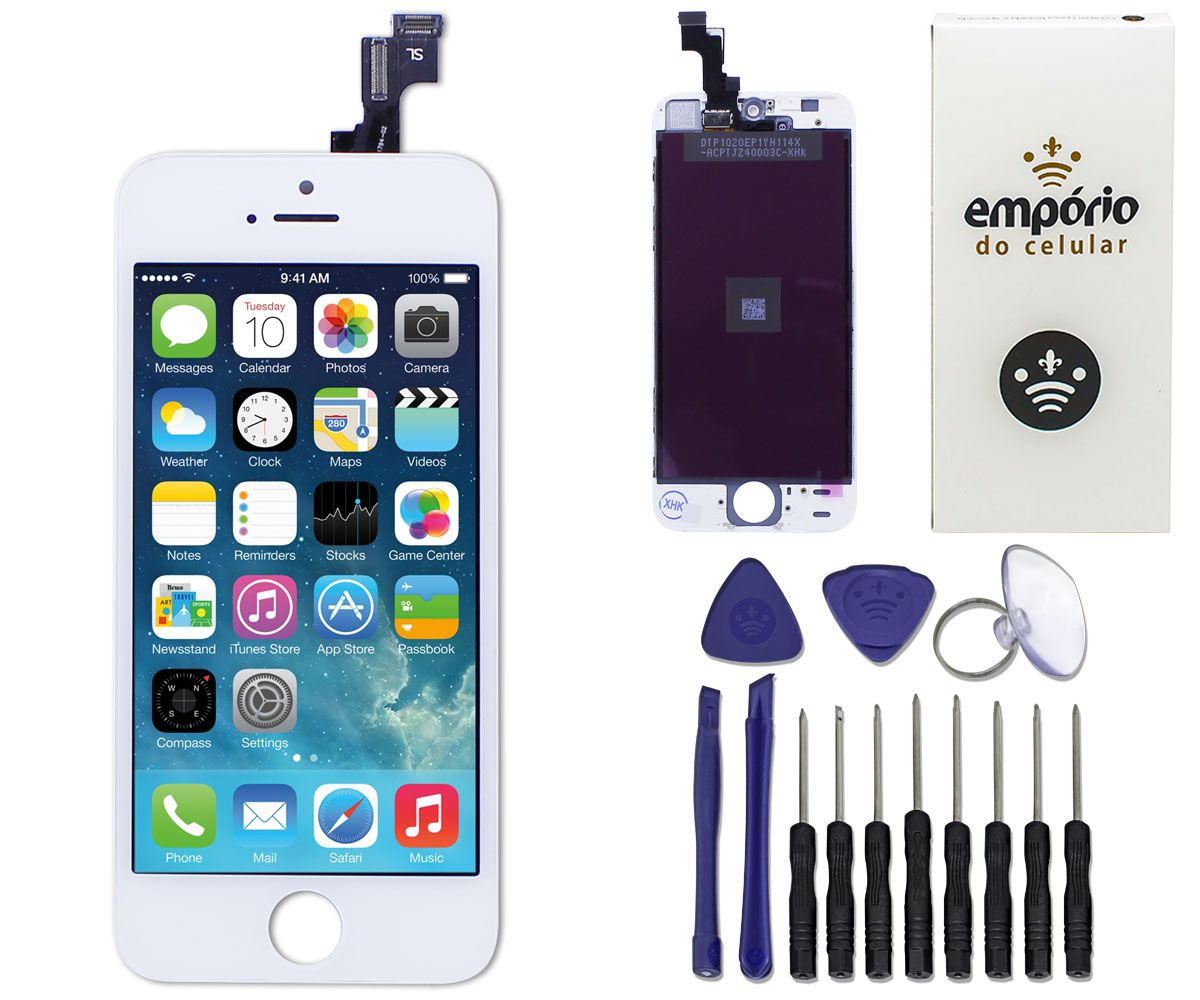 Kit Tela Display iPhone 5S Premium Branco + Bateria + Película