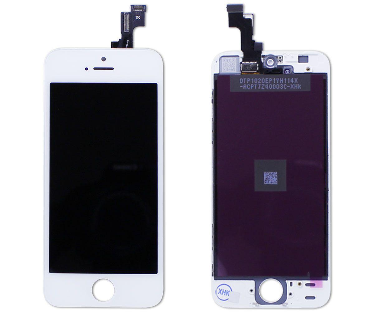 Kit Tela Display iPhone 5S Standard Branco + Bateria + Película