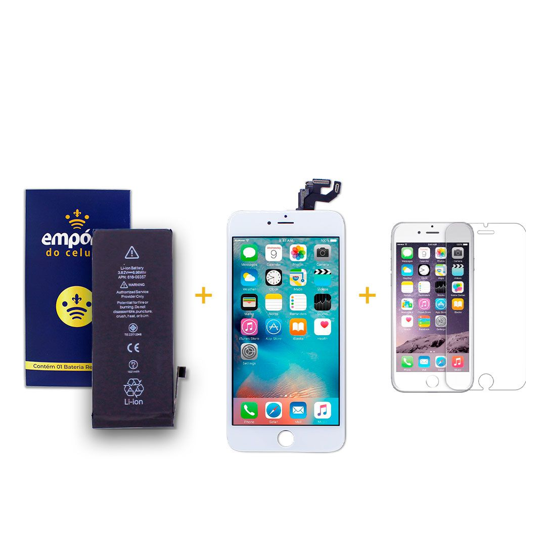 Kit Tela Display iPhone 6S Plus Premium Branco + Bateria + Película