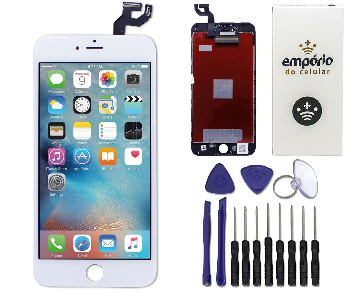 Kit Tela Display iPhone 6S Plus Premium Preto + Bateria + Película