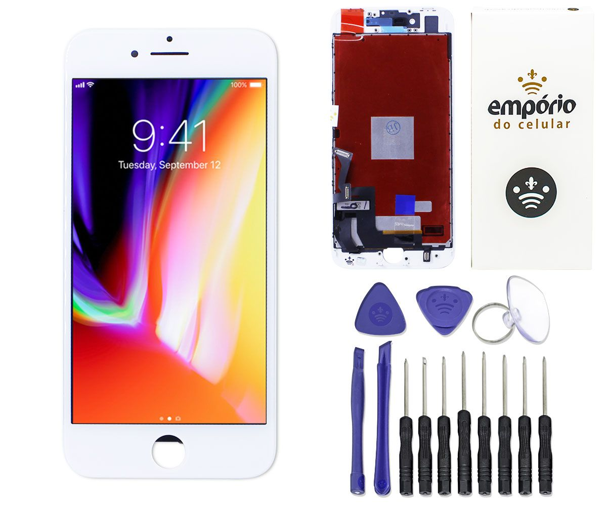 Kit Tela Display iPhone 8 Empório Pro Branco + Bateria + Capa Apple Vermelha