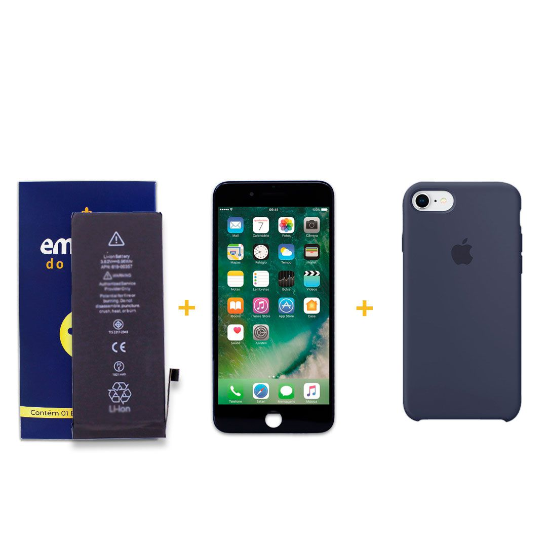 Kit Tela Display iPhone 8 Empório Pro Preto + Bateria + Capa Apple Azul Escura
