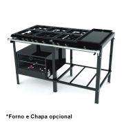 FOGAO 6 BOCAS PROGAS PERFIL 6 30X30 S/FORNO 3Q. SIMP. 3 DUP.MOD.PMSD-603P21091