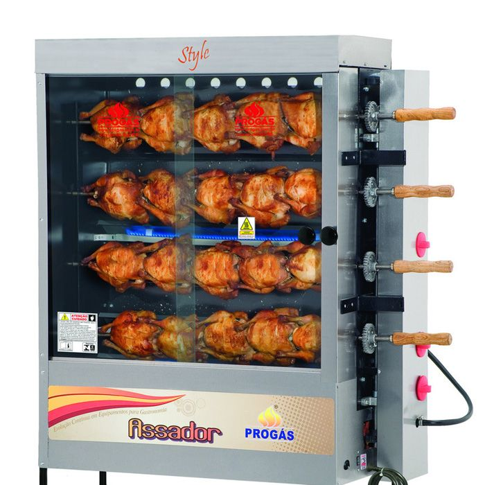 Assador de frangos inox a gas progas 20 frangos 127/220v mod.pr-621 ref.p24417