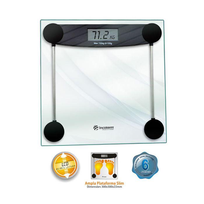 Balanca digital p/ pesar pessoas cap. 150kg incoterm vidro ref. 28010