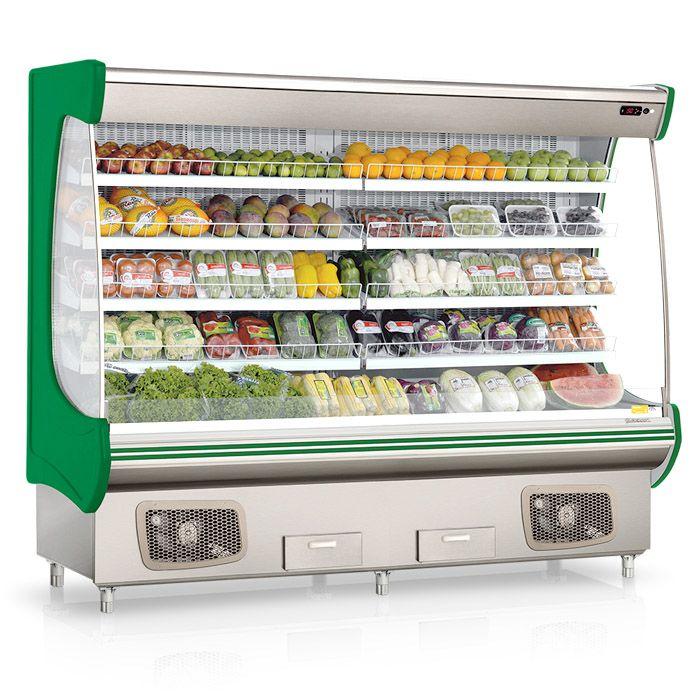 Expositor vertical p/ hortifruti refrigerado gelopar 220v verde mod. gshf-240vd