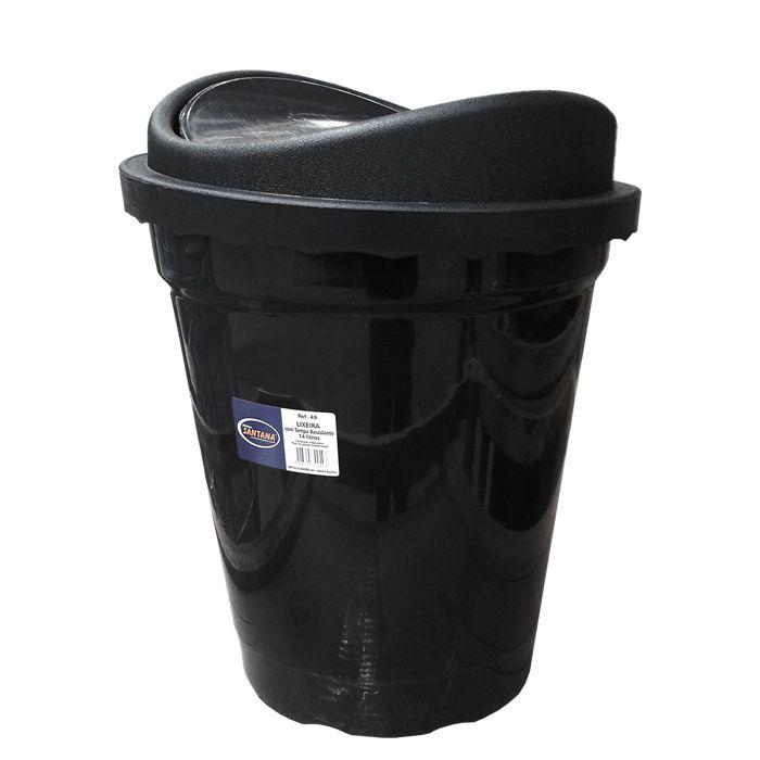 Lixeira 14 lt basculante plastico santana preta ref. 49