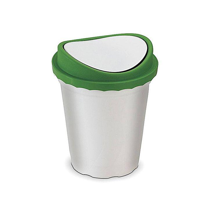 Lixeira 14 lt basculante plastico santana tampa verde ref. 49