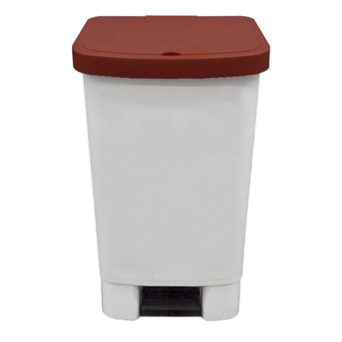Lixeira 50lt c/ pedal della plast retangular tampa marrom ref. 1105/ 16