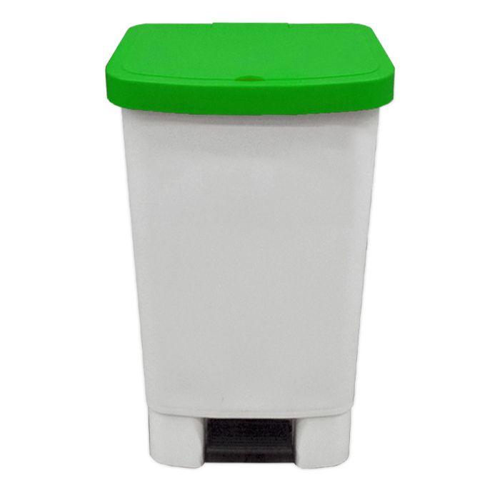 Lixeira 50lt c/ pedal della plast retangular tampa verde ref. 1102/ 13