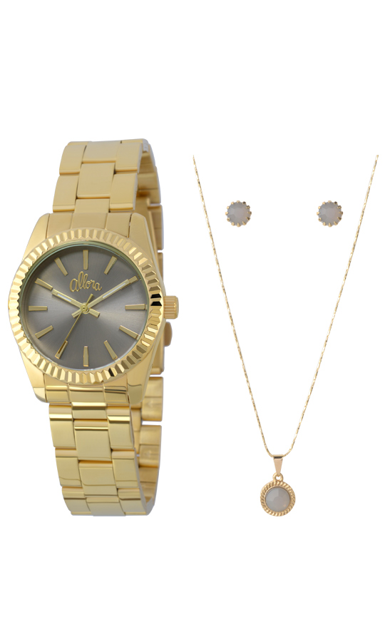 d07713c50a25e Kit Relógio Allora Feminino Dourado AL2035EZQK4CAlloraAlloraCompra ...