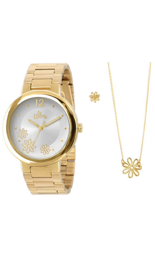 086fb855971ca Kit Relógio Allora Feminino Dourado AL2035KC4KAlloraAlloraCompra ...
