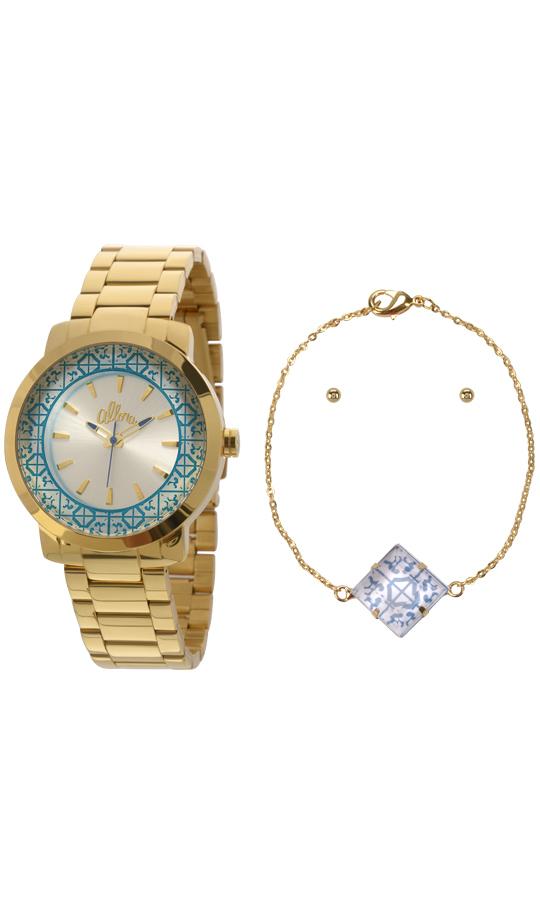 5ca6a365dced1 Kit Relógio Allora Feminino Dourado Azulejos AL2035EYZK4K