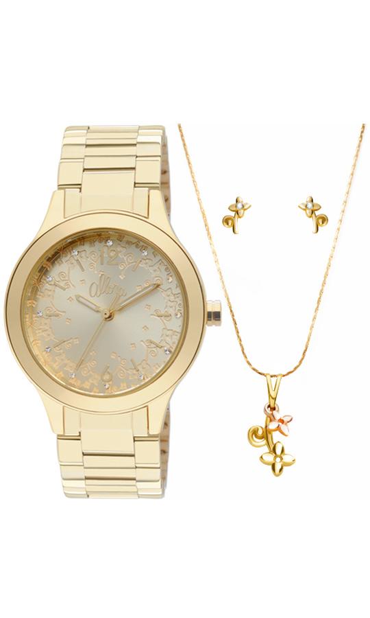 ad00185a049c0 Kit Relógio Allora Feminino Dourado Floral AL2035FP4D