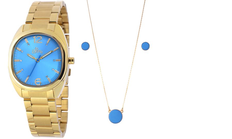 58f4961617ca0 Kit Relogio Allora Feminino Eu Desejo Azul AL2035LK4A