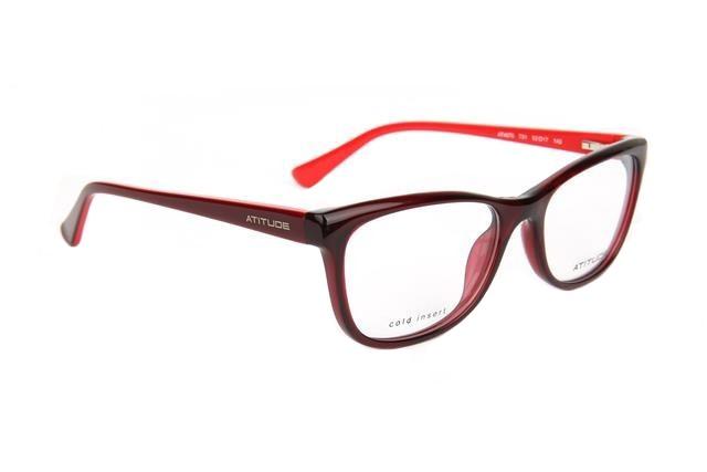cb7fd1650fe43 Óculos de Grau Atitude Feminino AT4070 T01 Tam.52Atitude ...