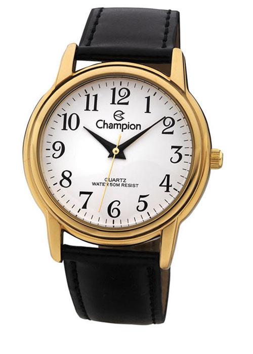 b1771f1a739 Relógio Champion Feminino Social Couro Preto CH22199M
