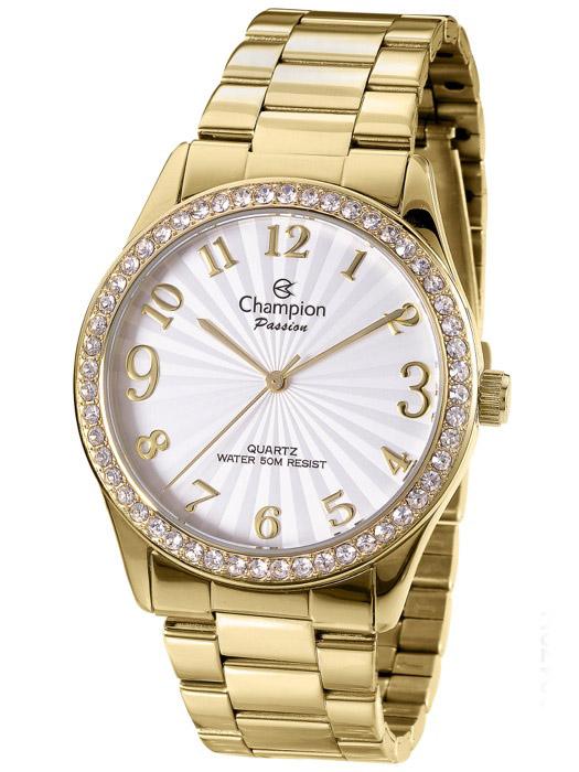 ad98be71314 Relógio Champion Passion Feminino Dourado Strass CN29472H