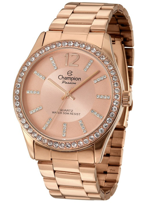 889d49823f0 Relogio Champion Passion Feminino Rose Strass CN29267X