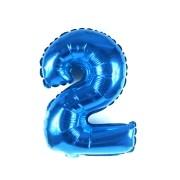 Balão Metalizado Azul Número  2