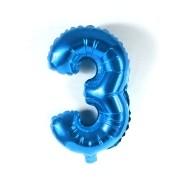 Balão Metalizado Azul Número  3