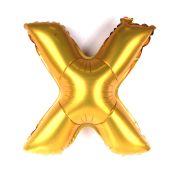 Balão Metalizado Letra X Dourado