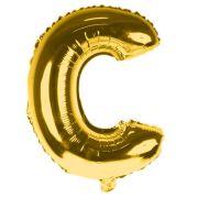 Balão Metalizado Gigante Mini Shape Letra C Dourado 70cm