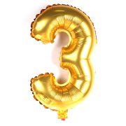 Balão Metalizado Gigante Mini Shape Número 3 Dourado