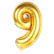 Balão Metalizado Gigante Mini Shape Número 9 Dourado