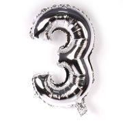 Balão Metalizado Número 3 Prata 45cm
