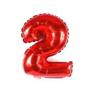 Balão Metalizado Vermelho Número 2