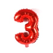 Balão Metalizado Vermelho Número 3