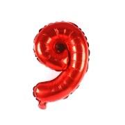 Balão Metalizado Vermelho Número 9