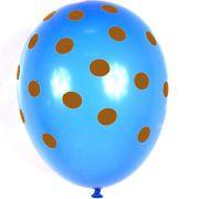 Balão São Roque Nº 9 C/25 Poá Azul Turquesa C/ Marrom