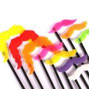 Bigode Colorido no Palito para Fotos com 10 unidades