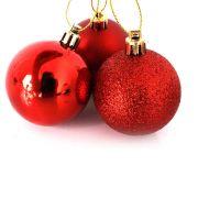 Bola Natal Vermelha Mista 5cm com 10 unidades