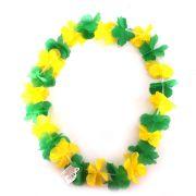 Colar Havaiano Tecido Verde e Amarelo