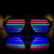 Óculos Pisca Led Preto Ativado por Som e Música