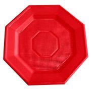Prato Descartável Oitavado 16cm Vermelho 10Un