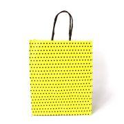 Sacola de Papel Amarela com Bolinhas Pretas