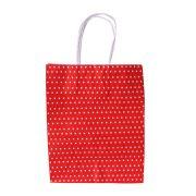 Sacola de Papel Vermelha com Bolinhas Brancas