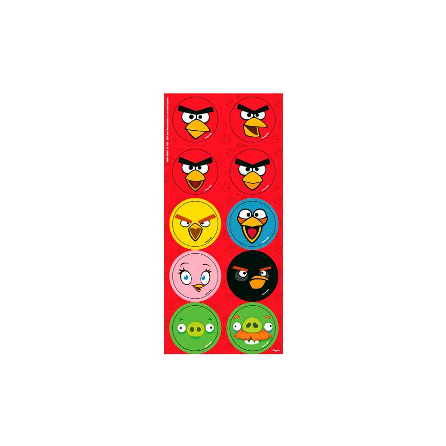 Adesivo 3 Cartelas Redondo Angry Birds