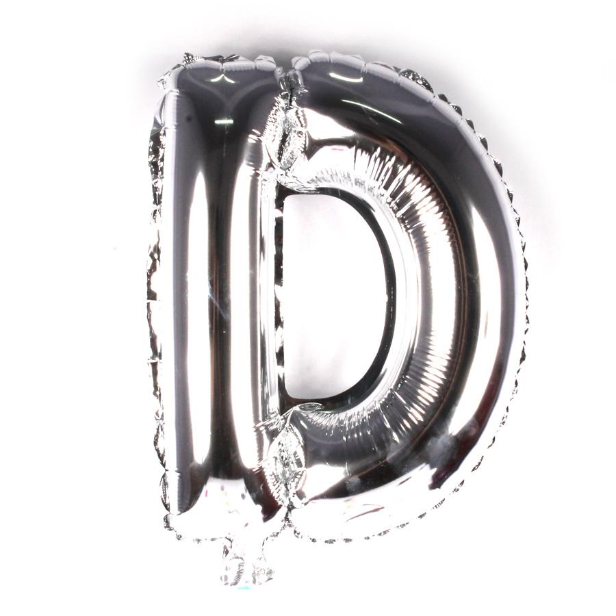 Balão Metalizado Letra D Prata 45cm