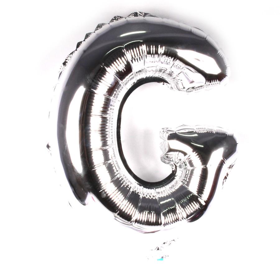 Balão Metalizado Letra G Prata 45cm