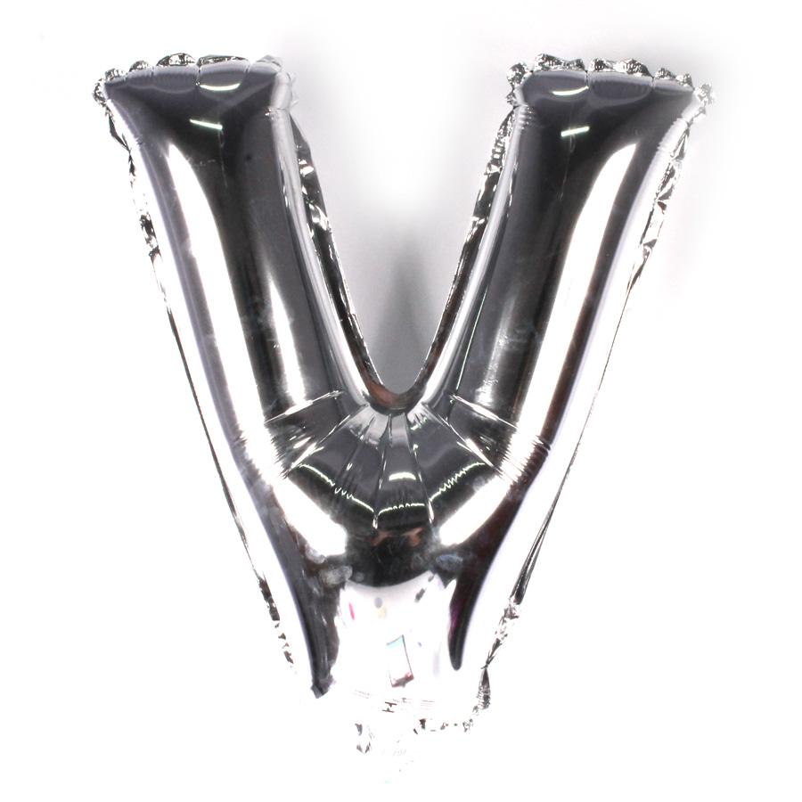 Balão Metalizado Letra V Prata 45cm