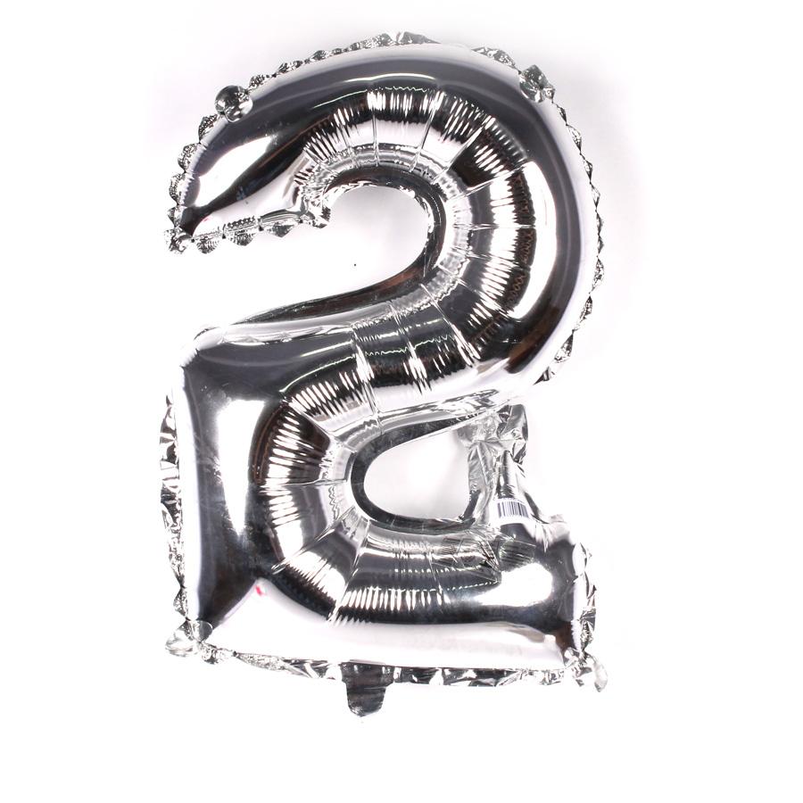 Balão Metalizado Número 2 Prata 45cm