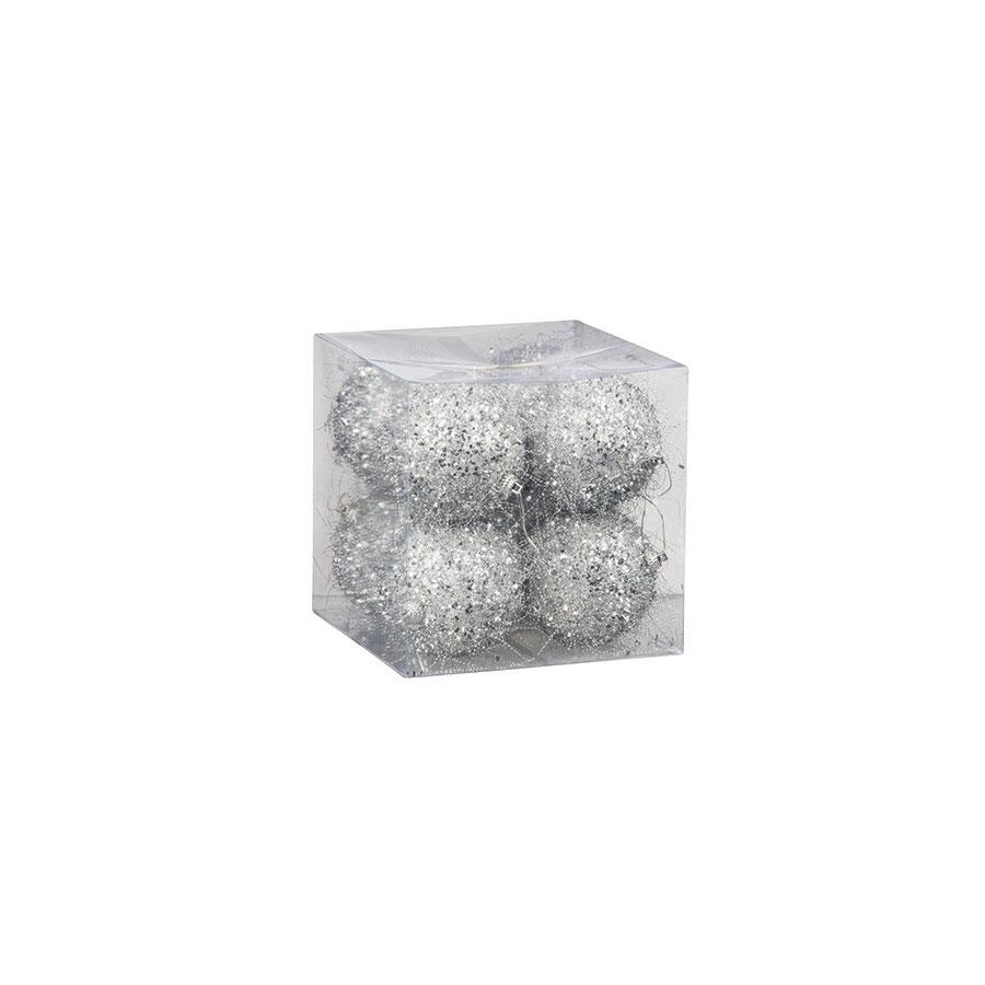 Bolas Fios Prata Luminare 7,7Cm C/ 8Un